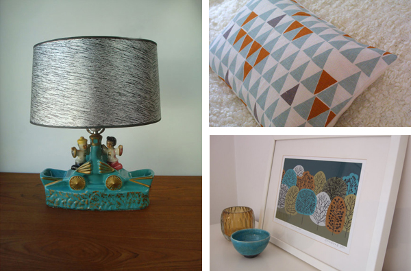 three examples of blue from Etsy