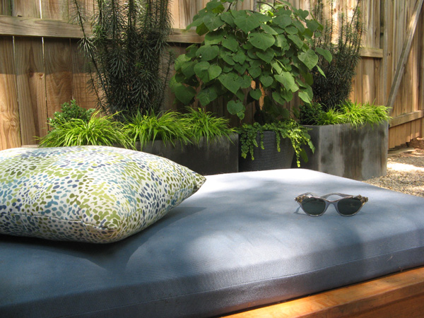 Chaise and container garden