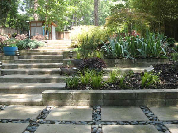 Terraced concrete garden