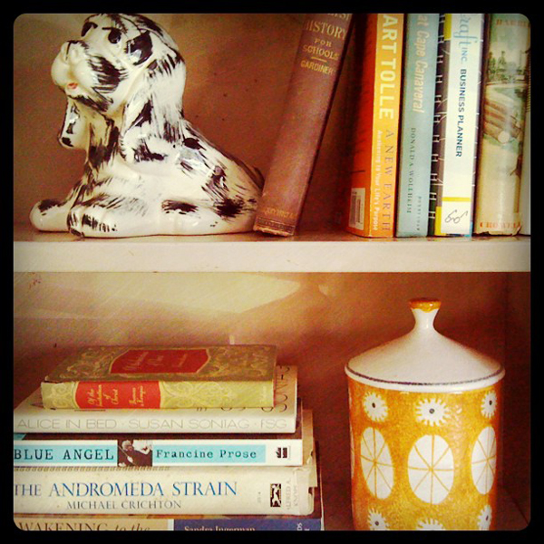 vintage books and modern decor
