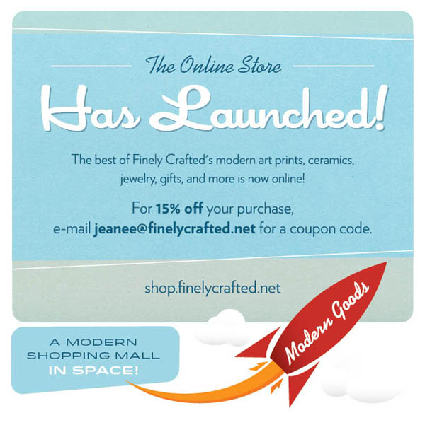 The Finely Crafted online store has launched! 15% off coupon