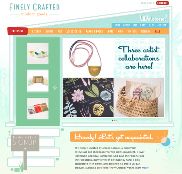 Snapshot of the Finely Crafted web store home page
