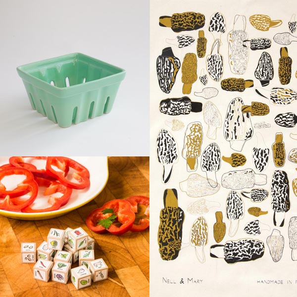 Fish's Eddy berry basket, Nell & Mary morels tea towel, Leafcutter Designs recipe dice