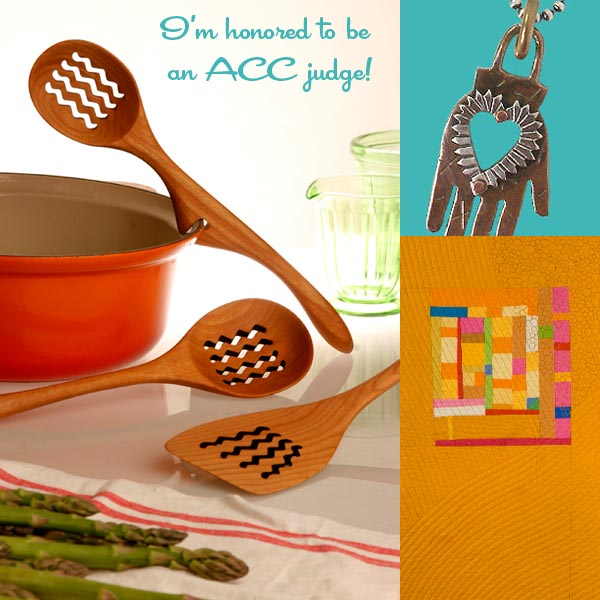Wood spoons by Spoonwood Inc., hand necklace by Thomas Mann, quilt by Cindy Grisdela