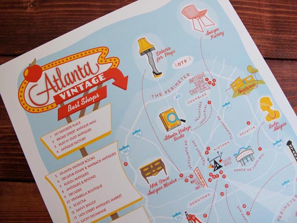 Atlanta vintage shopping print by Finely Crafted