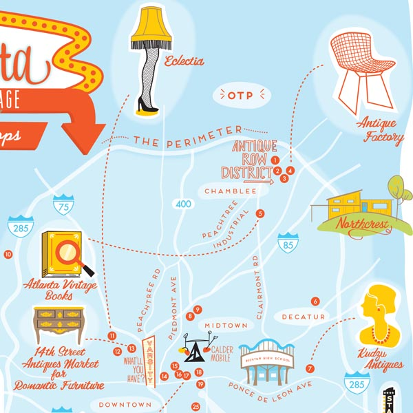 Sneak peek of Atlanta Best Vintage Shops print designed by Finely Crafted and Paper Parasol Press
