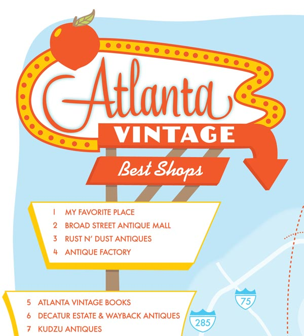 Atlanta best vintage shops map by Finely Crafted