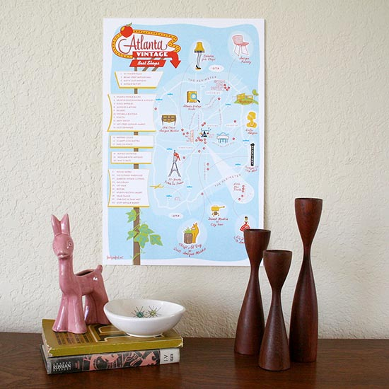 Atlanta vintage shopping map print by Finely Crafted and Paper Parasol Press