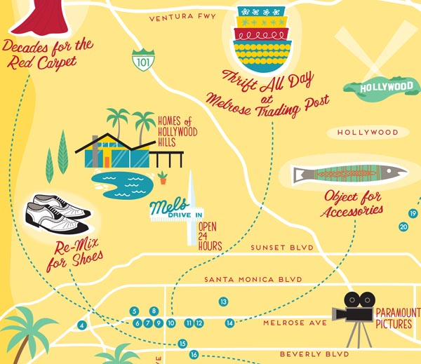 Los Angeles vintage shopping print by Finely Crafted