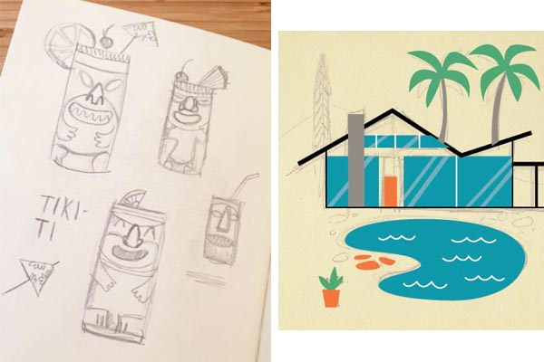 tiki-ti sketch, hollywood hills home sketch