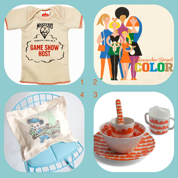 Baby gift roundup by Finely Crafted: Mysterio tee by Wry Baby, Alexander Girard Color book, kids' melamine meal set by Lotta Jansdotter, Bear pillow by Finely Crafted