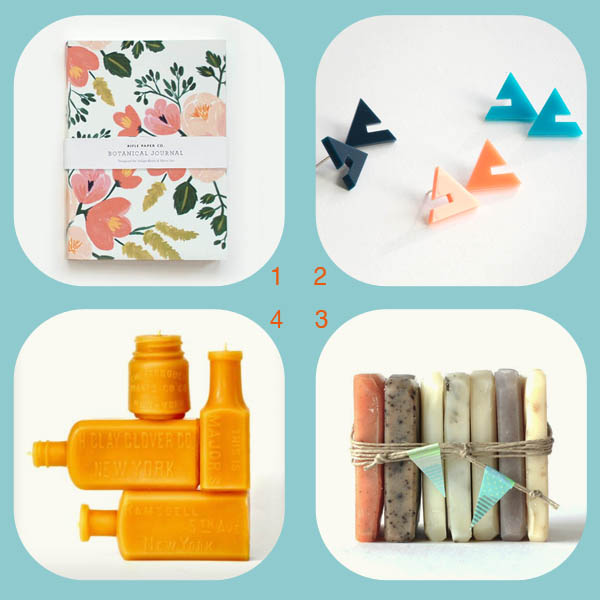 Birthday gift roundup by Finely Crafted: rose journal by Rifle Paper Co., Pylon acrylic studs by Delusions of Grandeur, vegan soap by Prunella, Beeswax bottle candles by Deva America