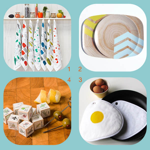 Hostess gift roundup by Finely Crafted: towels by Nell & Mary, chevron plates by Nicole Porter Designs, fried egg potholders by Red Stitch, cocktail dice by Leafcutter Designs