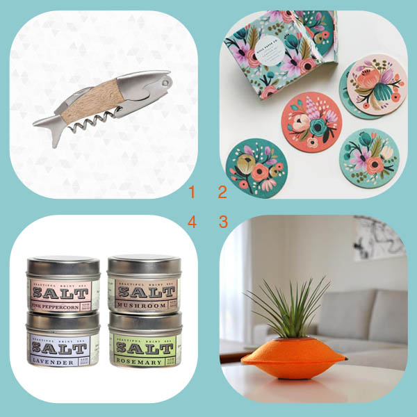 Housewarming gift roundup by Finely Crafted: fish corkscrew by Kikkerland, floral coasters by Rifle Paper Co., UFO felt planter by Flip & Tumble, salt tins by Beautiful Briny Sea