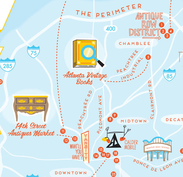 Best Vintage Shops in Atlanta map by Finely Crafted