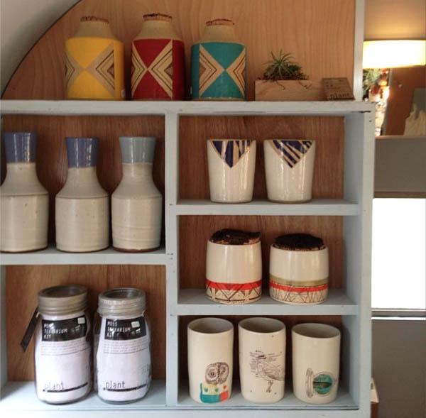 Ceramics inside Very Hush Hush mobile shop