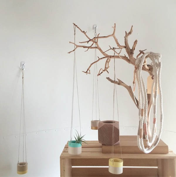 Wood planters by Mavis Studio and rope necklaces by Have Company