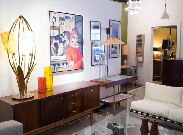 Charles Levier painting at City Issue midcentury modern boutique in Atlanta; photo by Finely Crafted