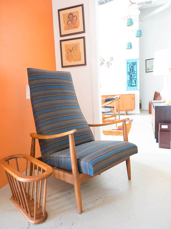 Milo Baughman lounge chair at City Issue midcentury modern boutique in Atlanta; photo by Finely Crafted