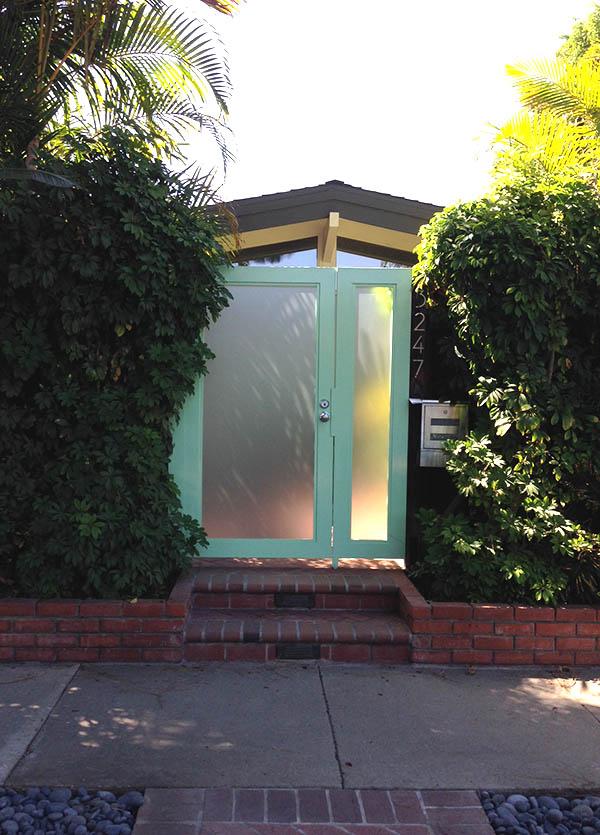 Aqua and glass modern gate